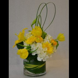 Cream Yellow in Leaf Wrapped Vase