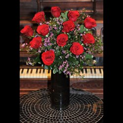 Dozen Red Roses in Dark Vase