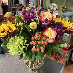 seasonal special flower arrangement with a variety of flowers in a vase