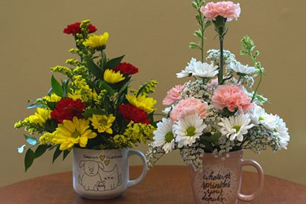 assorted flowers in a pink or blue mug